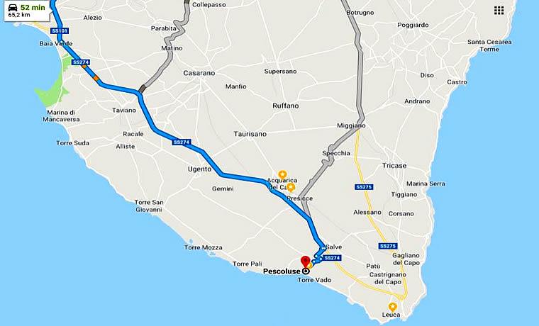 Salve Puglia Cartina.Lecce A Pescoluse Come Arrivare A Marina Di Salve